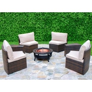Creative Living Chapel Hill 6 Piece Curved Seating Group with Cushion