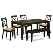 East West Lynfield 6 Piece Dining Set; Microfiber Upholstery