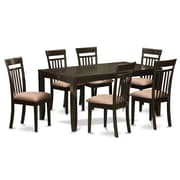 East West Lynfield 7 Piece Dining Set; Microfiber Upholstery