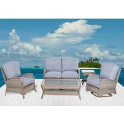 Rattan Outdoor Furniture Pompano 5 Piece Deep Seating Group