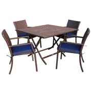 Jeco Inc. 5 Piece Dining Set w/ Cushions; Blue