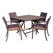 Jeco Inc. 5 Piece Dining Set w/ Cushions; Brown