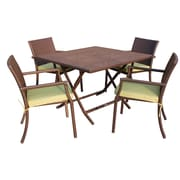 Jeco Inc. 5 Piece Dining Set w/ Cushion; Green