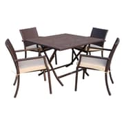 Jeco Inc. 5 Piece Dining Set w/ Cushion; Tan
