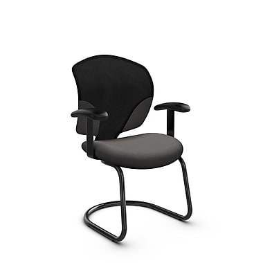Global® (1953 IM82) Tye Guest & Reception Chair, Imprint Graphite Fabric, Grey