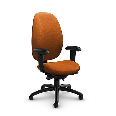 GlobalMD – Fauteuil à dossier haut et à inclinaison synchro Malaga (3140-0 MT23), tissu assorti, orange