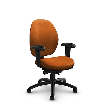 Global® (3141-0 MT23) Malaga Low Back Synchro Tilter, Match Orange Fabric, Orange