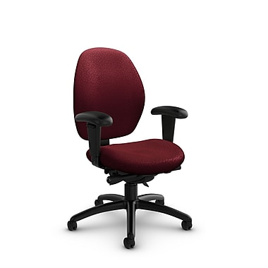 Global® (3141-0 MT29) Malaga Low Back Synchro Tilter, Match Burgundy Fabric, Red