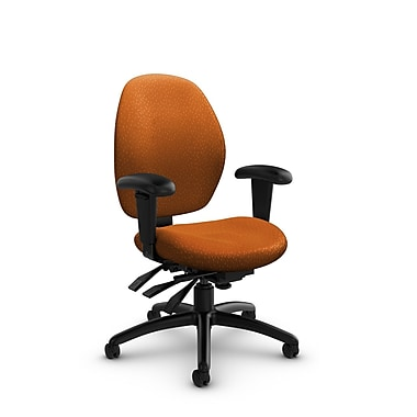 GlobalMD – Fauteuil à dossier basà inclinaison multiple Malaga (3141-3 MT23), tissu assorti, orange