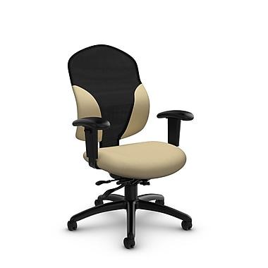 Global® (1951-3 IM70) Tye Mid Back Multi Tilter, Imprint Almond Fabric, Tan