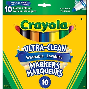 Crayola® Ultra-Clean Washable Broad Line Markers, Classic Colours, 10/Pack