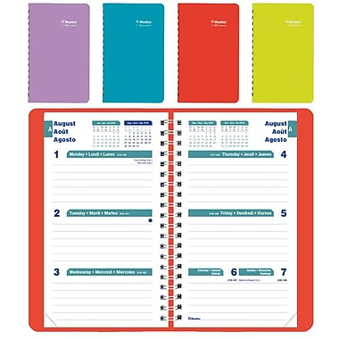 Blueline® - Agenda scolaire hebdomadaire 2016/2017, 6 po x 3 1/2 po, trilingue, couleurs variées