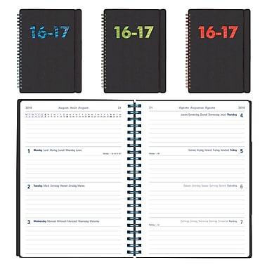 Letts® 2016-2017 Black PP Weekly Planner, Multilingual, 8-1/4