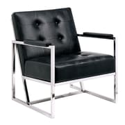 A&J Homes Studio Neo Tufted Leather Arm Chair; Black