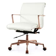 Meelano M347 Leather Executive Office Chair, Fixed Arms, White (347-RG-WHI)