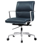 Meelano M347 Genuine Italian Leather Executive Office Chair, Navy Blue (347-NVY)