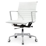 Meelano M346 Leather Executive Office Chair, Fixed Arms, White (346-WHI)