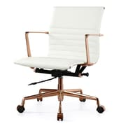 Meelano M346 Leather Executive Office Chair, Fixed Arms, White (346-RG-WHI)