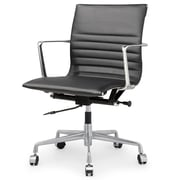 Meelano M346 Leather Executive Office Chair, Fixed Arms, Black (346-BLK)