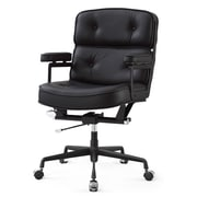 Meelano M340 Genuine Italian Leather Executive Office Chair, All Black (340-DRK)