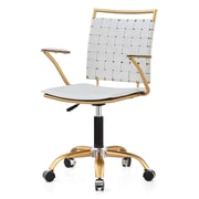 Meelano M356 Bonded Leather Mid-Back Office Chair, White  (356-GD-WHI)