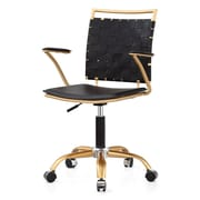 Meelano M356 Leather Managers Office Chair, Fixed Arms, Black (356-GD-BLK)
