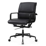 Meelano M330 Leather Executive Office Chair, Fixed Arms, Black (330-DRK)