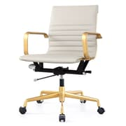 Meelano Gold M348 Genuine Vegan Leather Executive Office Chair, Grey (348-GD-GRY)