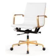 Meelano Gold M348 Genuine Vegan Leather Executive Office Chair, White (348-GD-WHI)