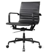 Meelano M348 Leather Executive Office Chair, Fixed Arms, Black (348-DRK)