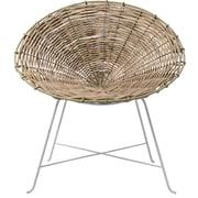 Bloomingville Braided Rattan Papasam Barrel Chair; White/Natural