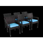 Rattan Outdoor Furniture Brighton Dining Arm Chair with Cushion (Set of 6)