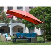 Abba Patio 10' Square Cantilever Umbrella; Dark Red