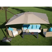 Abba Patio 10' Square Cantilever Umbrella; Tan