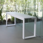 Modloft Hanover Console Table; White Glass on White Oak