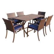 Jeco Inc. 7 Piece Dining Set w/ Cushions; Blue