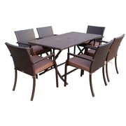Jeco Inc. 7 Piece Dining Set w/ Cushions; Brown