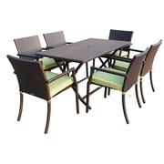 Jeco Inc. 7 Piece Dining Set w/ Cushions; Green