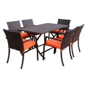 Jeco Inc. 7 Piece Dining Set w/ Cushions; Orange