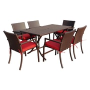 Jeco Inc. 7 Piece Dining Set w/ Cushions; Red