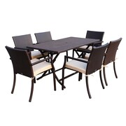 Jeco Inc. 7 Piece Dining Set w/ Cushions; Tan