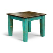 Vintage Flooring and Furniture Farm Bar Height Dining Table; Ebony / Turquoise