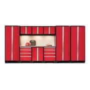 NewAge Products Bold 3.0 Series 10 Piece Garage Storage Cabinet Set w/ Worktop; Red
