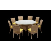 Rattan Outdoor Furniture Brighton 9 Piece Dining Set with Cushions; Yellow