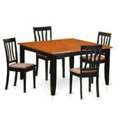 Wooden Importers Parfait 5 Piece Dining Set; Microfiber Upholstery