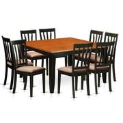 Wooden Importers Parfait 9 Piece Dining Set; Microfiber Upholstery