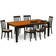 Wooden Importers Quincy 7 Piece Dining Set; Microfiber Upholstery