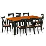 Wooden Importers Quincy 9 Piece Dining Set; Microfiber Upholstery