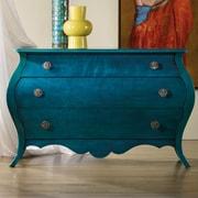 Hooker Furniture Melange Nina Bombe 3 Drawer Chest; Turquoise