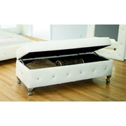 BestMasterFurniture Upholstered Storage Bedroom Bench; Pure White